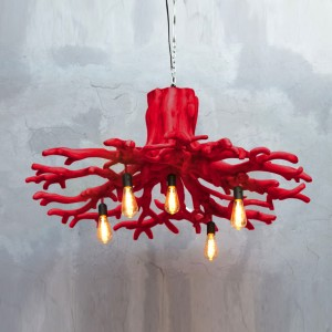 drift wood chandellier red