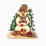 CANDLE HOLDER SNOWMAN 1