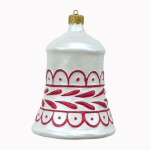 CHRISTMAS DÉCOR BELL WHITE W/ RED TRIM 1