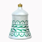CHRISTMAS DÉCOR BELL WHITE W/ GREEN TRIM 1