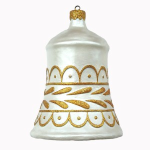 CHRISTMAS DÉCOR BELL WHITE W/ GOLD 1