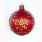 CHRISTMAS DÉCOR BALL  RED W/ GOLD TRIM 1