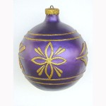 CHRISTMAS DÉCOR BALL PURPLE W/ GOLD TRIM 1