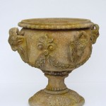 VASE W/ FOUR HEADED ARIES STONE FINISH (YELLOW) 1