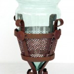 GLASS W/ IRON STAND CHINESE PERFORATED 1