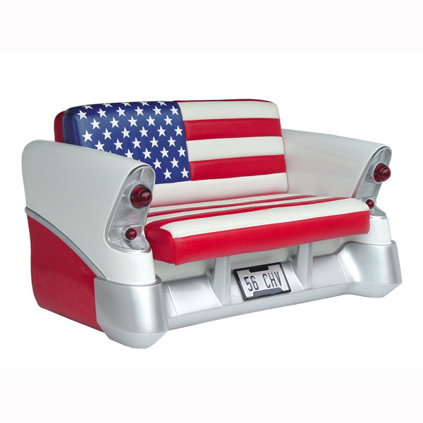 56 CH-CAR SOFA W/ AMERICAN FLAG 1