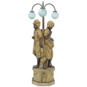 BOY & GIRL GARDEN LAMP (STONE FINISH-YELLOW) 1