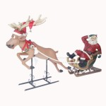 FUNNY SANTA ON SLEIGH WITH FUNNY REINDEER 1