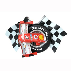 CHECKERED FLAGS WITH FRR F1 NOSE CONE AND TIRE WALL DÉCOR 1
