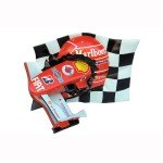 CHECKERED FLAG WITH FRR F1 NOSE CONE AND HELMET 1