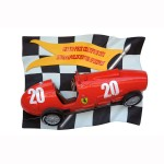 CHECKERED FLAG WITH VINTAGE F1 CAR 1