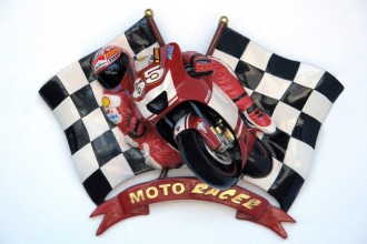 MOTORACER WITH CHECKERED FLAGS 1