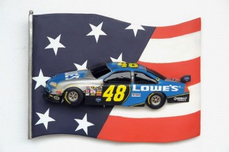 NASCAR WALL DÉCOR WITH AMERICAN FLAG 1