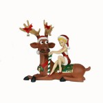 LADY ELF SITTING ON FUNNY REINDEER 1