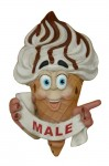 ICE CREAM TOILET DOOR SIGN (MALE &#8211, POINTING RIGHT) 1