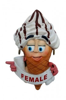 ICE CREAM TOILET DOOR SIGN (FEMALE &#8211, POINTING LEFT) 1