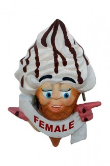 ICE CREAM TOILET DOOR SIGN (FEMALE &#8211, POINTING RIGHT) 1