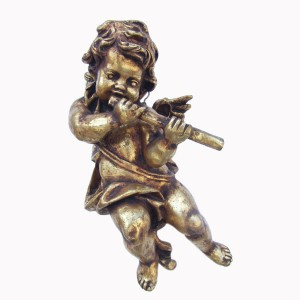 ANGEL HANGING WITH FLUTE IN FULL GOLD LEAF 1