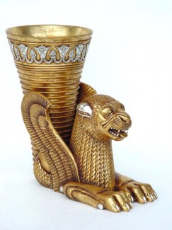 EGYPTIAN LION WITH VASE (Small) 1