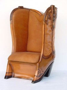 COWBOY BOOT CHAIR WITH REAL LEATHER 1