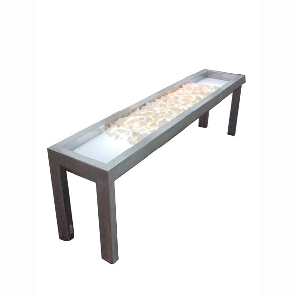 Long side table with stones and glass for Long side table