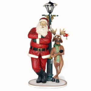 SANTA AND FUNNY REINDEER STANDING W/ LAMPPOST 1