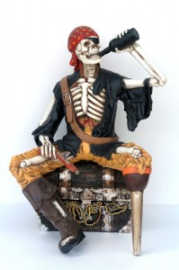 SKELETON PIRATE DRINKING AND SITTING IN TREASURE BOX 1