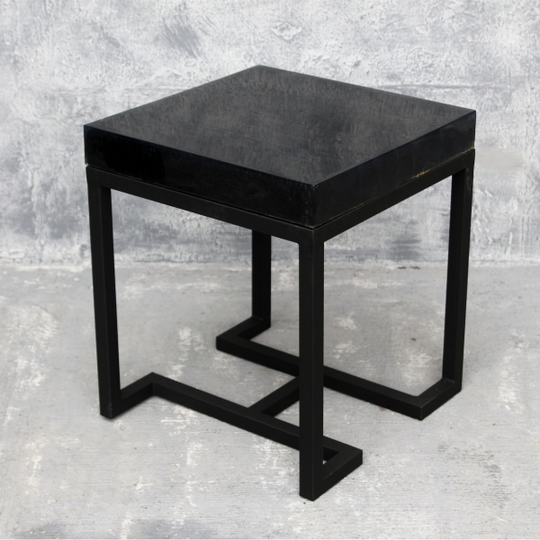 Alexa Side Table Burnt Wood With Clear Cast And Flat Black Base